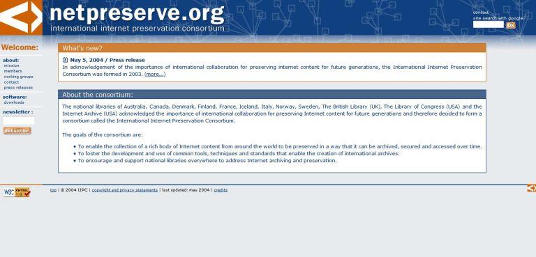 International Internet Preservation Consortium website home page, 3 June 2004