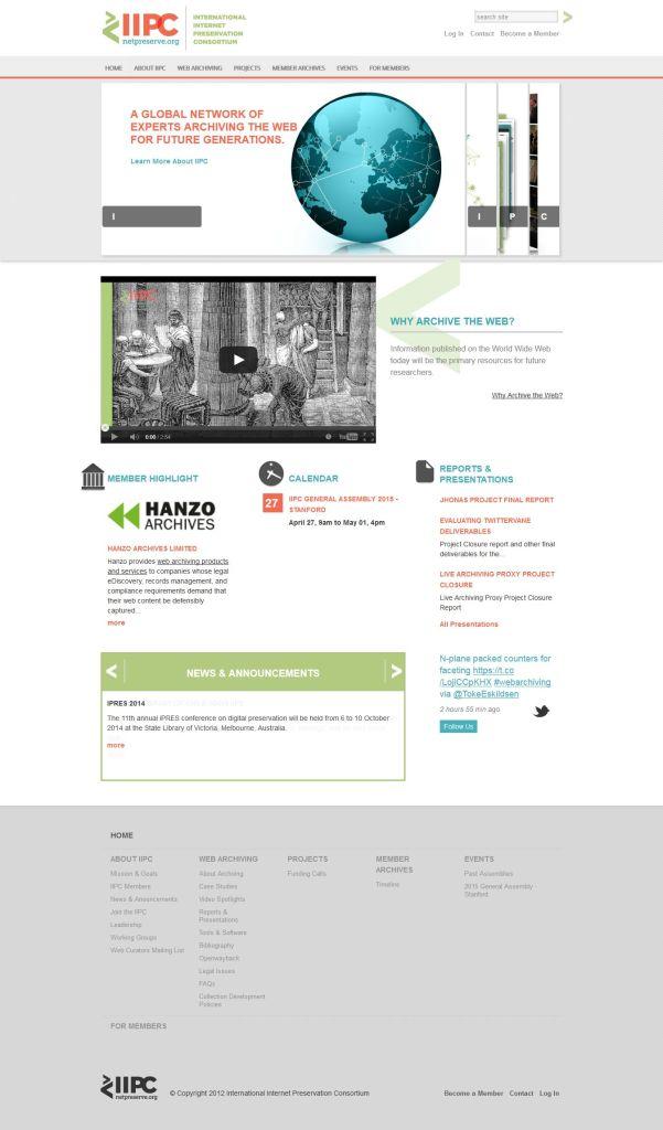 International Internet Preservation Consortium website home page, 18 March 2015