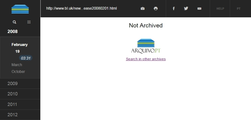 Figure 4. Arquivo.pt links to the Memento Time Travel portal when users browse an unavailable content so that they can find it in other web archives.
