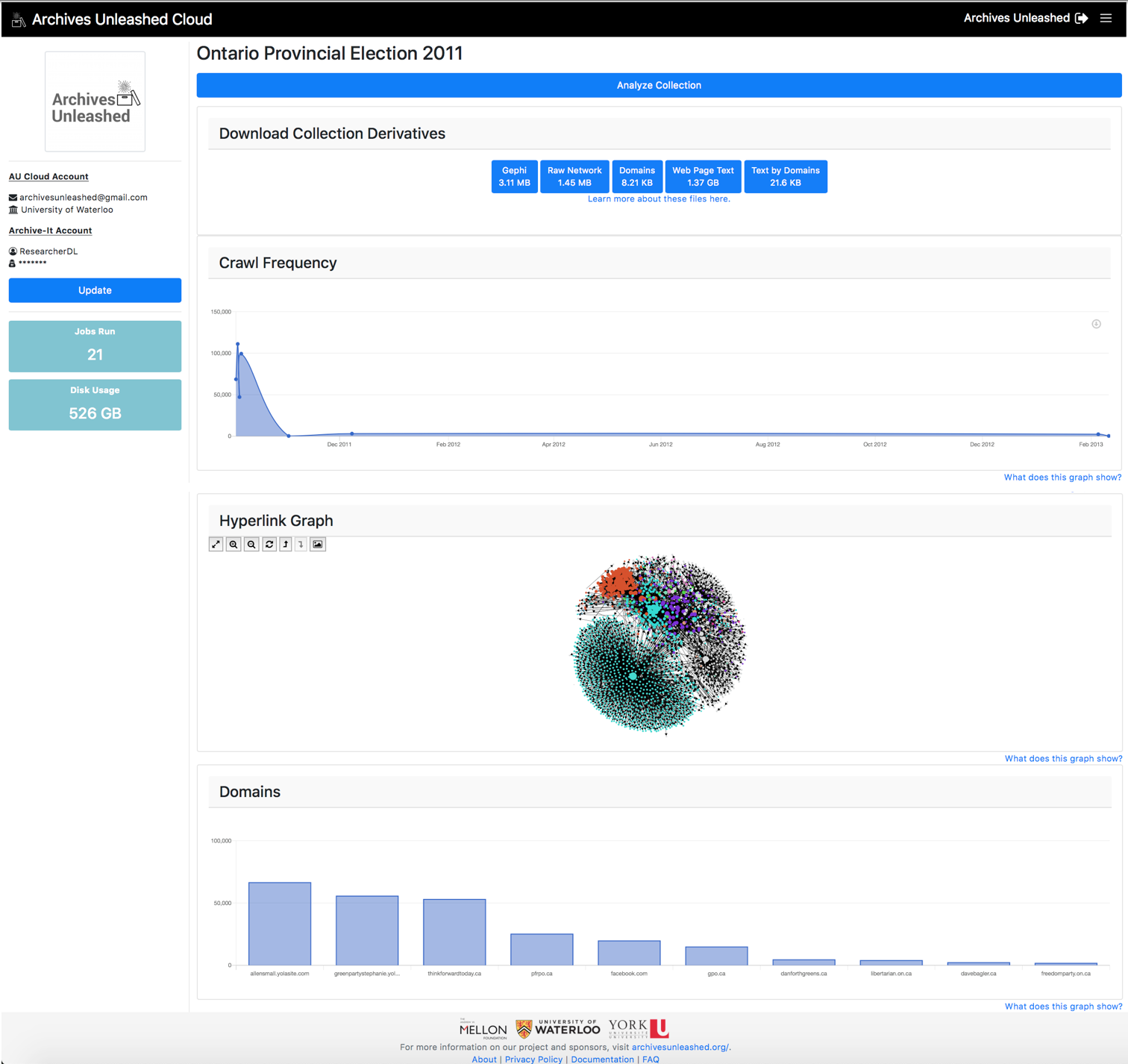 Archives Unleashed Cloud Interface for Analysis